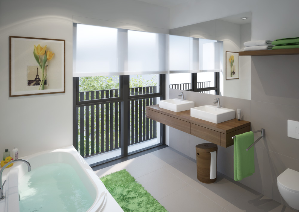 All large apartments have an outward-facing bathroom with a window to provide natural light plus a guest WC.