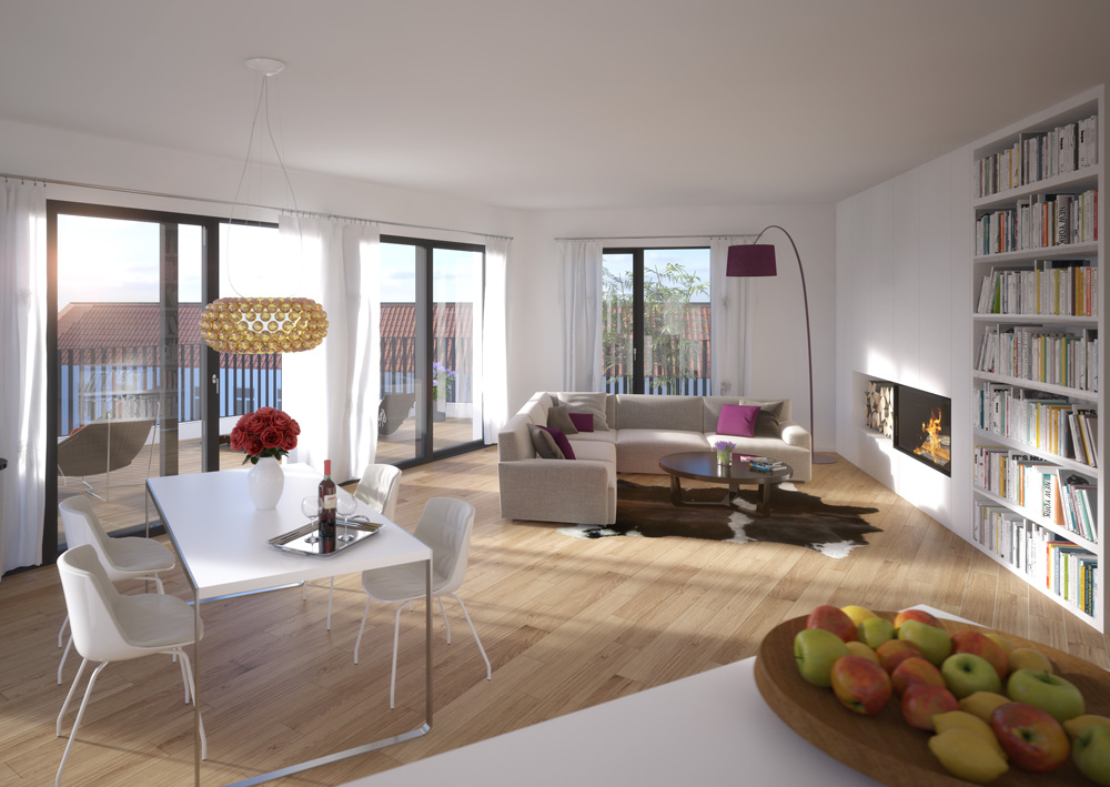 Natural wood floorboards and room heights of 2.85 m guarantee the perfect interior atmosphere.