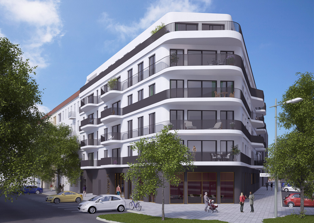 Floor level windows which perfectly match to the curving, light façade ensure that the 25 elegant condominiums have plenty of natural light.